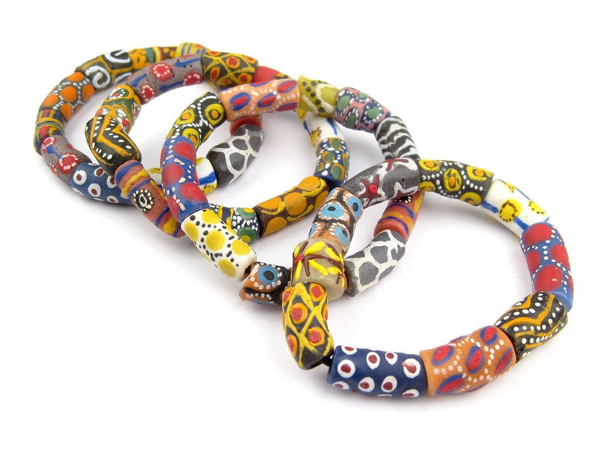 Rose Medley Krobo Beads 12mm Ghana African Multicolor Mixed Glass Large Hole