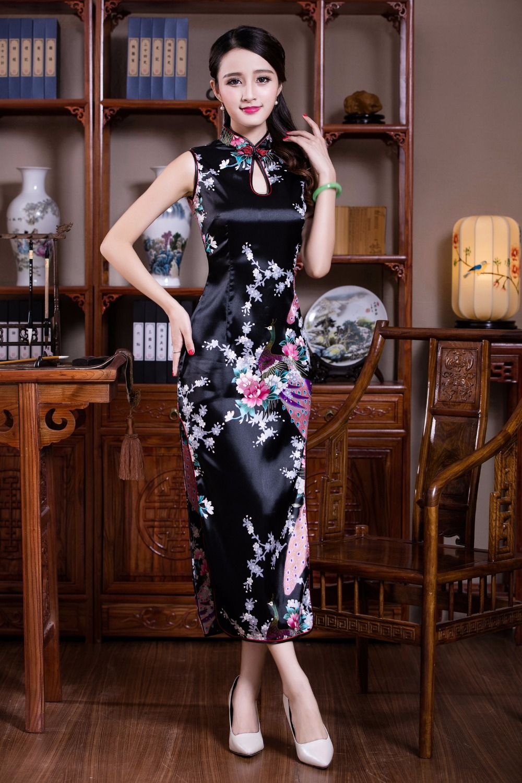 Free Shipping Hot Sale Chinese Traditional Long Sleeveless Cheongsam Dresses Cheongsam Dress Peacock Asian Style Dress Evening Dress Sleeveless Cheongsam Dress [ 1500 x 1000 Pixel ]