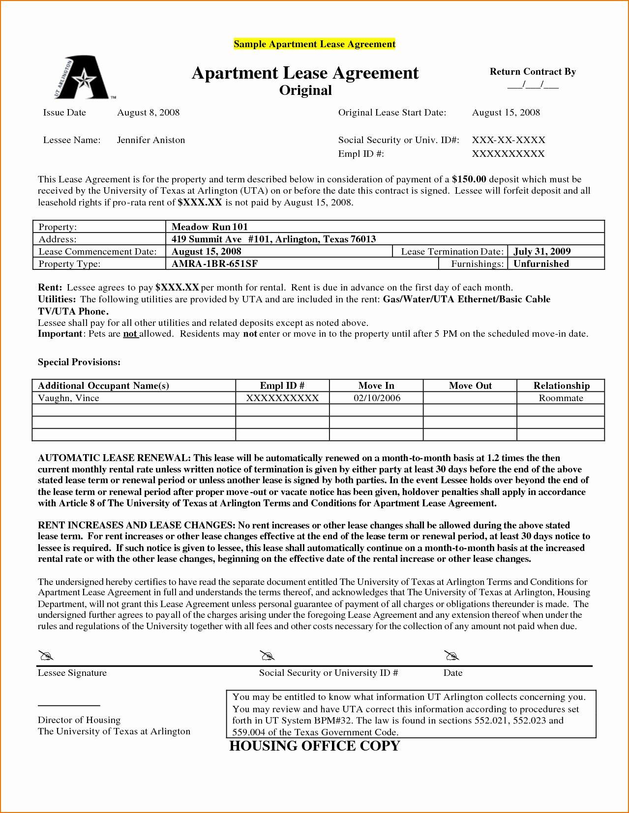 Apt Lease Agreement Template Elegant 8 Lease Sample Lease Agreement Rental Agreement Templates Contract Agreement