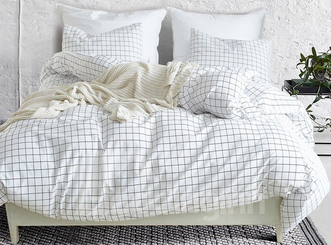 Ins Style Pure Checkered Patterns Printed 3 Piece Bedding Sets