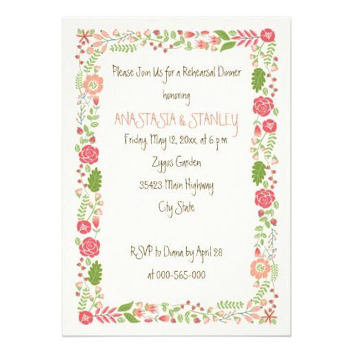 Vintage coral peach floral border wedding rehearsal dinner invitation. #rehearsaldinner #invitation #floral #border #wedding