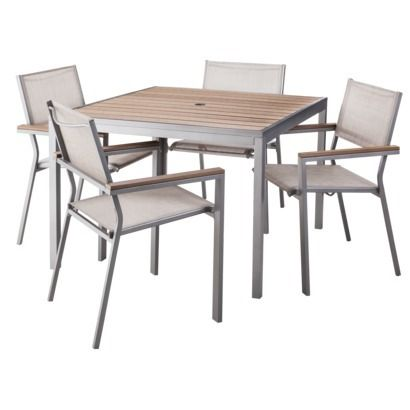 Threshold Trade Bryant 5 Piece Faux Wood Square Patio Dining