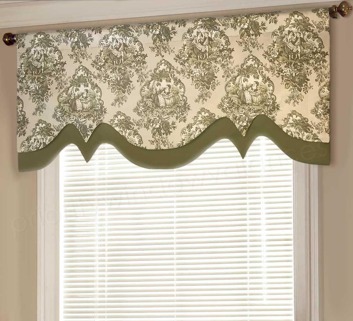 Double Layered Scalloped Valance Valance Window Treatments Diy Valance Custom Window Treatments