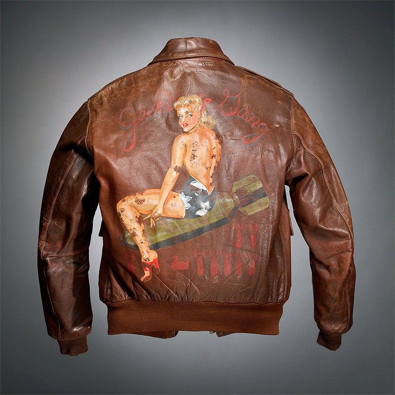 Painted WWII-era A2 military flight jacket from a private ...