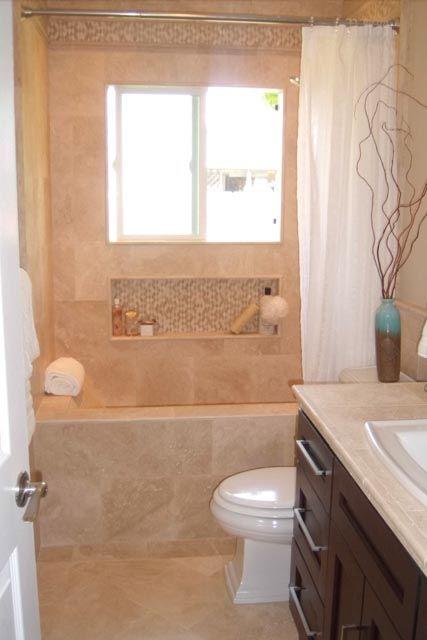 Bath with niche below window Bathroom Shelves Niche Pinterest