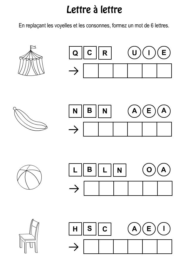Lettre à lettre (7 ans et plus) Jeux a imprimer, Mots