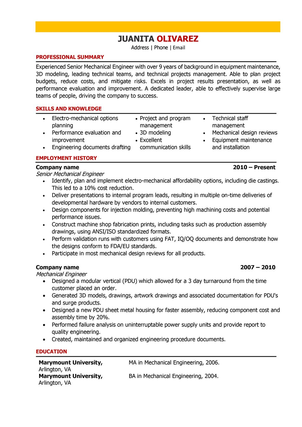 Mechanical Engineer Resume Samples and Writing Guide 10