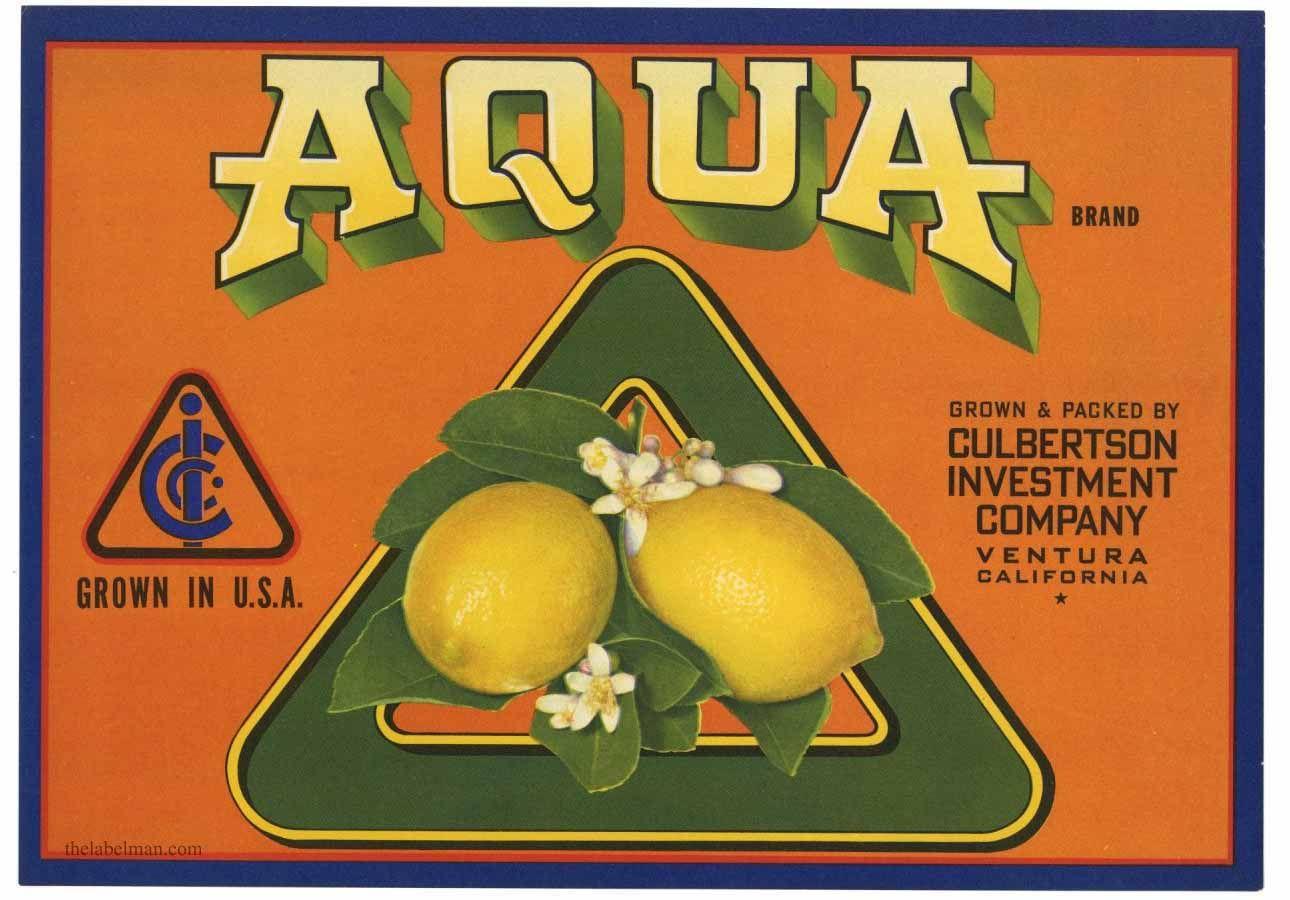 AQUA Vintage Ventura Lemon Crate Label