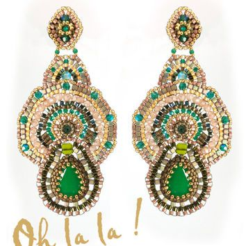 Green Onyx and Gold Fill, Statement Swarovski Crystal Earrings Beaded by Esther Marker