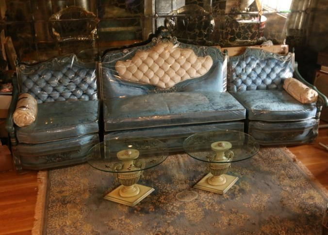 Three Part French Provincial Style Sectional Sofa With Blue Uph And Heavily  Carved Wood Frames