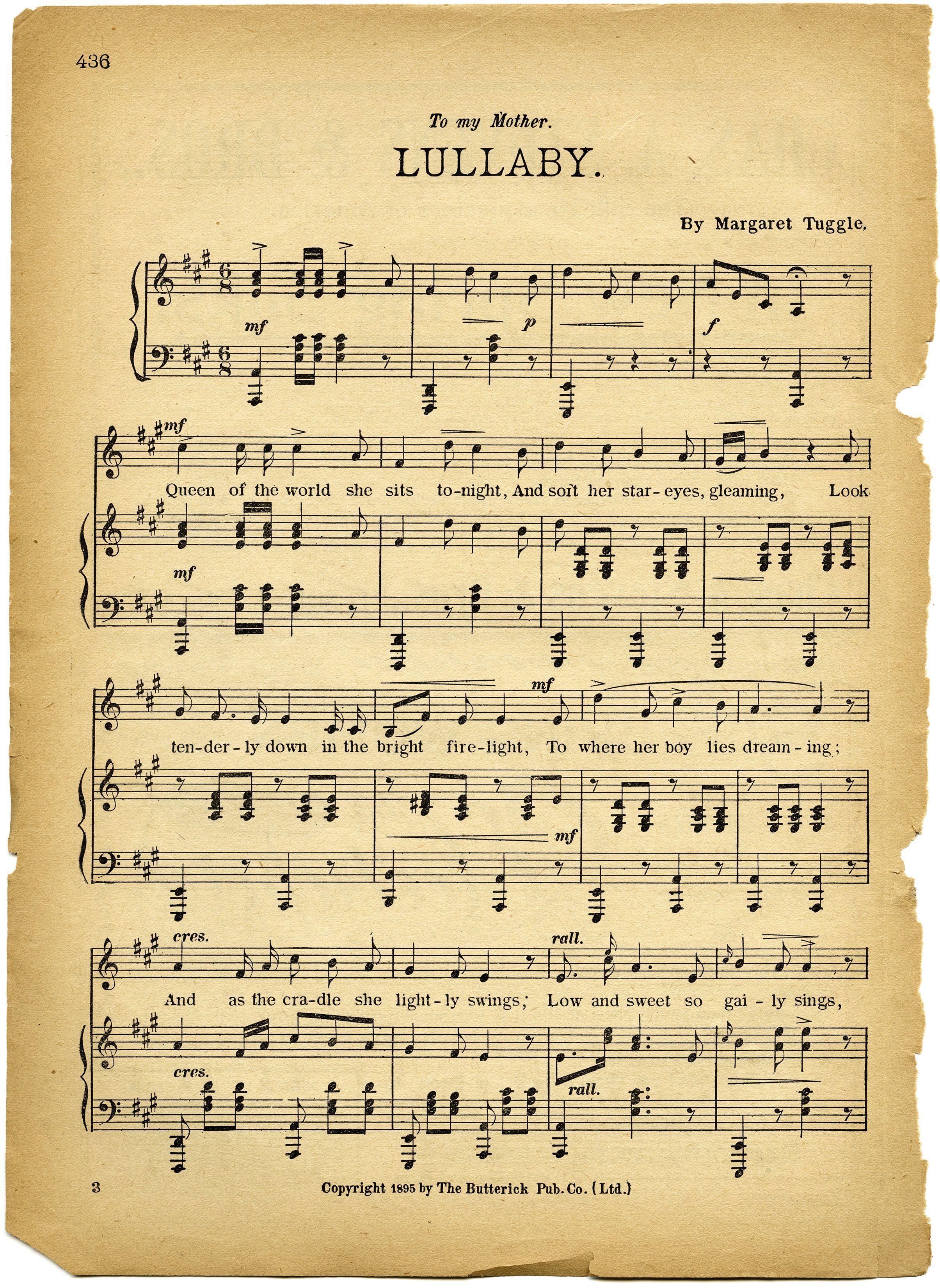 Free Vintage Images Lullaby Sheet Music Sheet Music Music