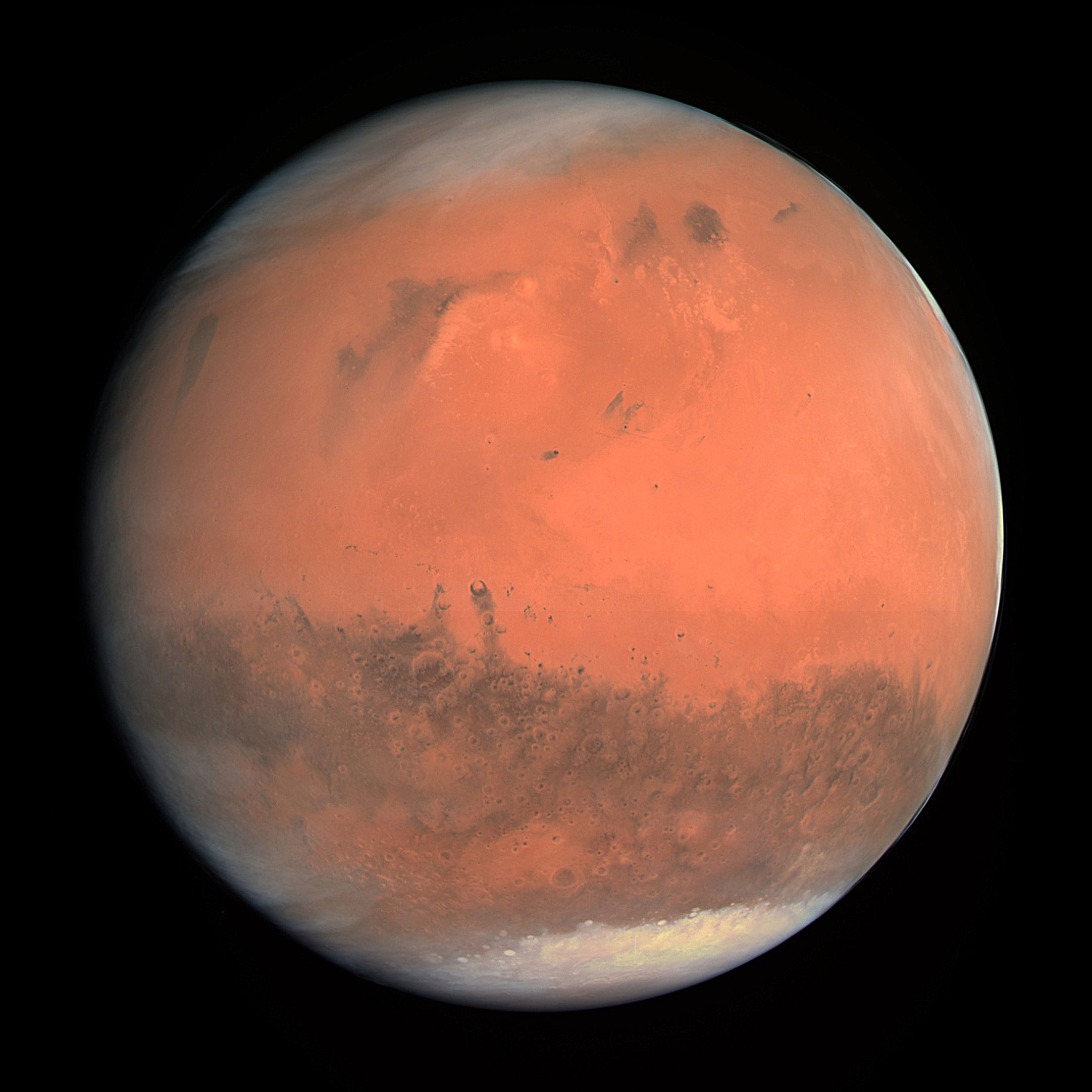 On Feb. 24, 2007, when it was about 240,000 km (130,000 miles) out, Rosetta took this incredible full-disk image of Mars with its main OSIRIS camera. It was the first three-color image taken by the camera that closely represents what the eye would see. - Credit: ESA
