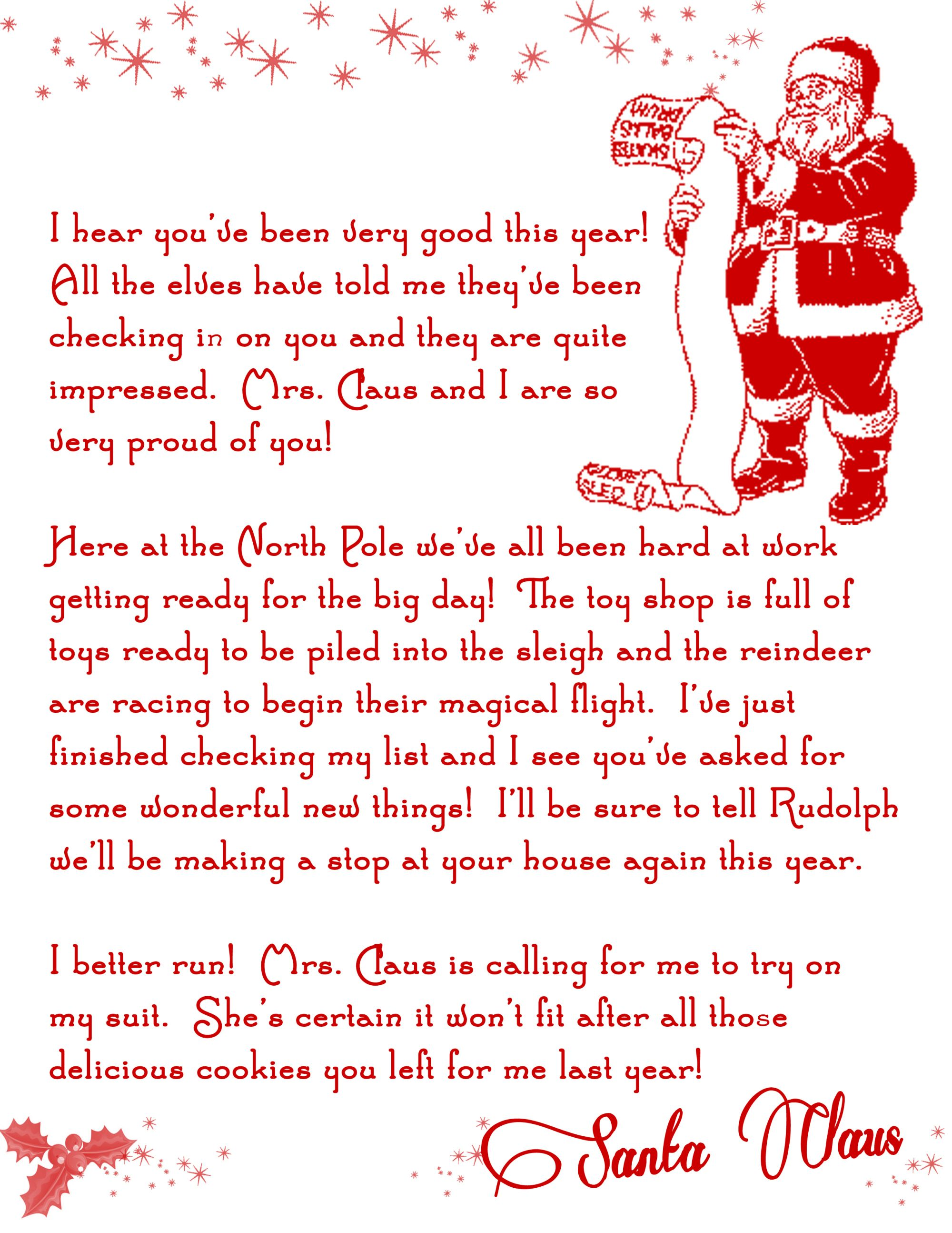Letter From Santa Christmas Printable Free  Print Outs