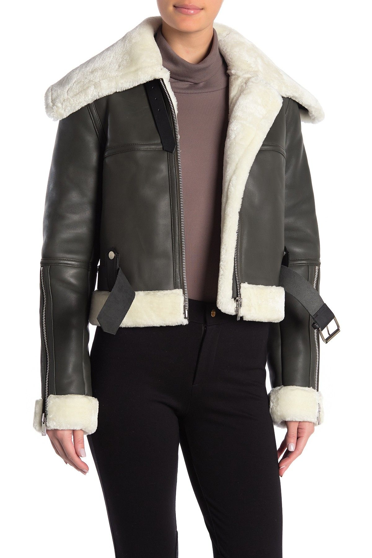 Walter Baker Mandie Faux Fur Lamb Leather Jacket