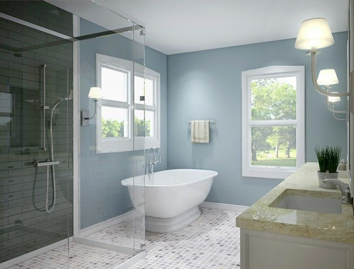 Web Photo Gallery Bathroom ideas for small spaces mosaic tiles flooring light blue walls