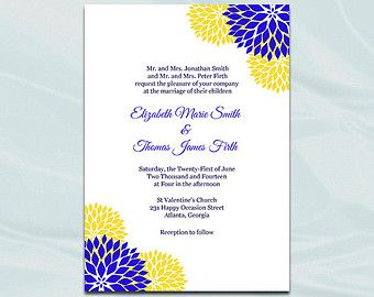 Yellow And Royal Blue Wedding Invitations Etsy