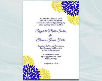 Yellow And Royal Blue Wedding Invitations Etsy