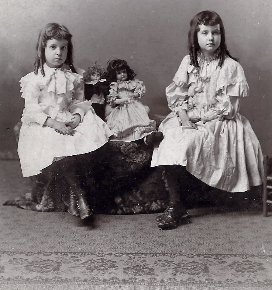Two Young Girls with their Dolls 1894 Victorian Era Photograph