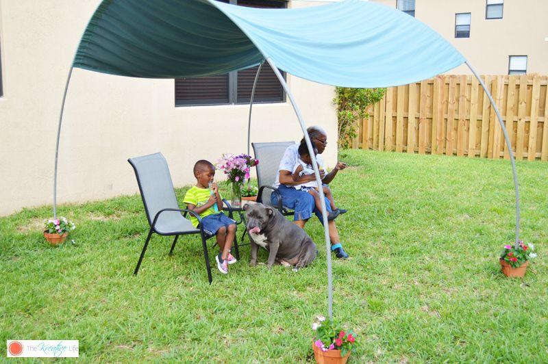 Diy backyard sunshade the kreative life backyard shade