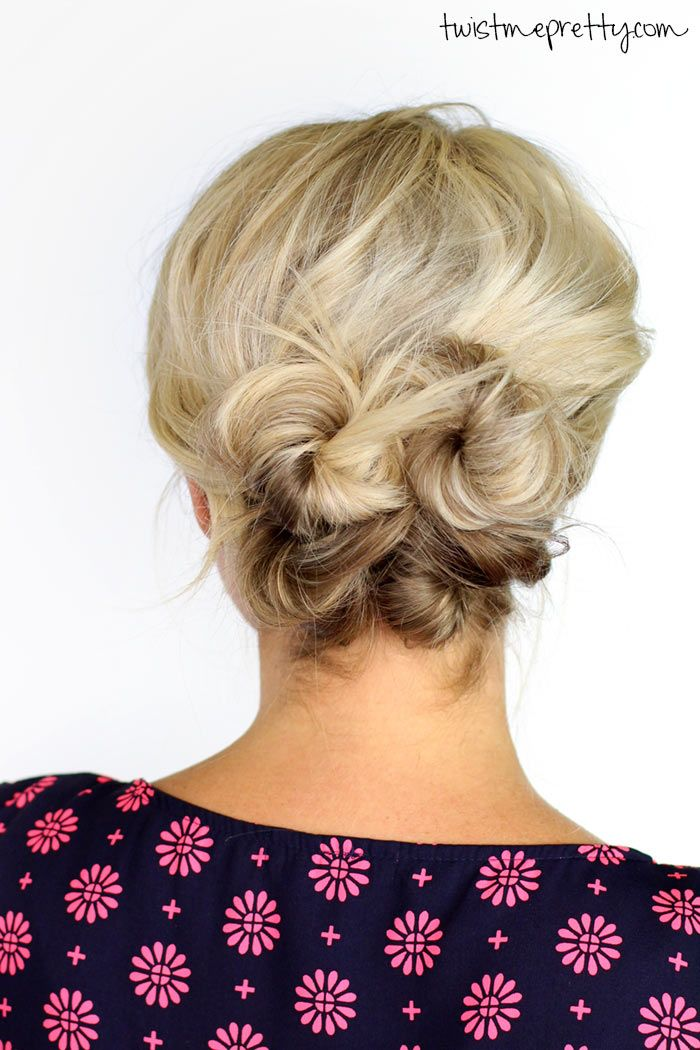 A Simple Knotted Updo For Short Hair Even I Could Do This Best Blush For Medium Short Hair Up Medium Length Hair Styles Hair Lengths