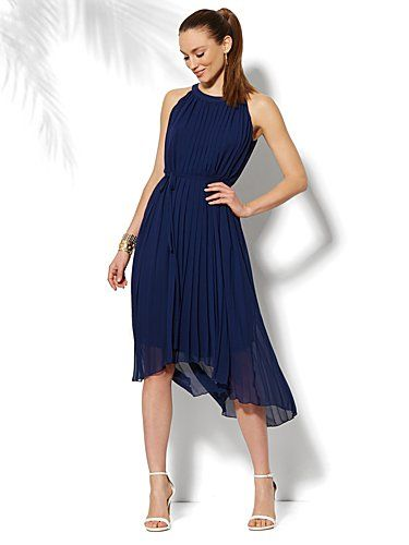 ca03449446 Shop Pleated Chiffon Hi-Lo Halter Dress . Find your perfect size online at  the best price at New York & Company.