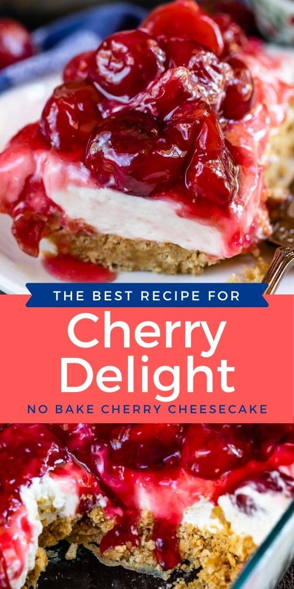 This Cherry Delight Recipe with cream cheese and cool whip is the perfect no bake dessert recipe with cherry pie filling! This no bake cherry cheesecake has a graham cracker crust and is the perfect potluck dish.