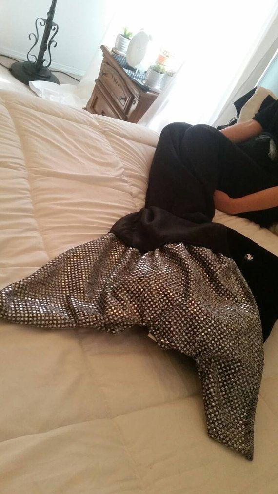 Large Mermaid Tail Blanket by knittingdone on Etsy