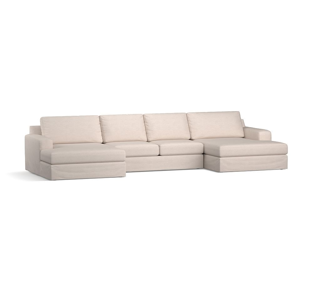 Big Sur Square Arm Slipcovered U Chaise Double Sectional