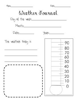 Weather journal page with thermometer also my report ahg young meteorologist badge pinterest rh