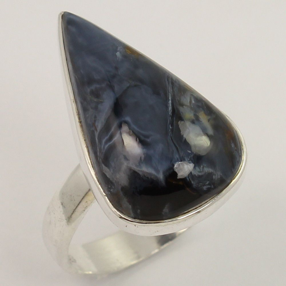 with lyst in pietersite exotic large jewelry product silverblue normal band stone silver david ring rings gallery yurman
