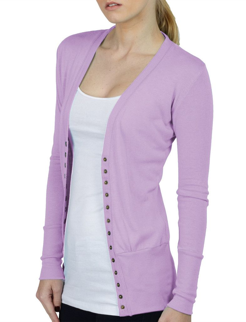 LE3NO Womens Lightweight Fitted Long Sleeve Knit Cardigan ...