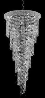 New Crystal Chandelier Spiral Polished Chrome X Lighting - Chandelier crystals ebay