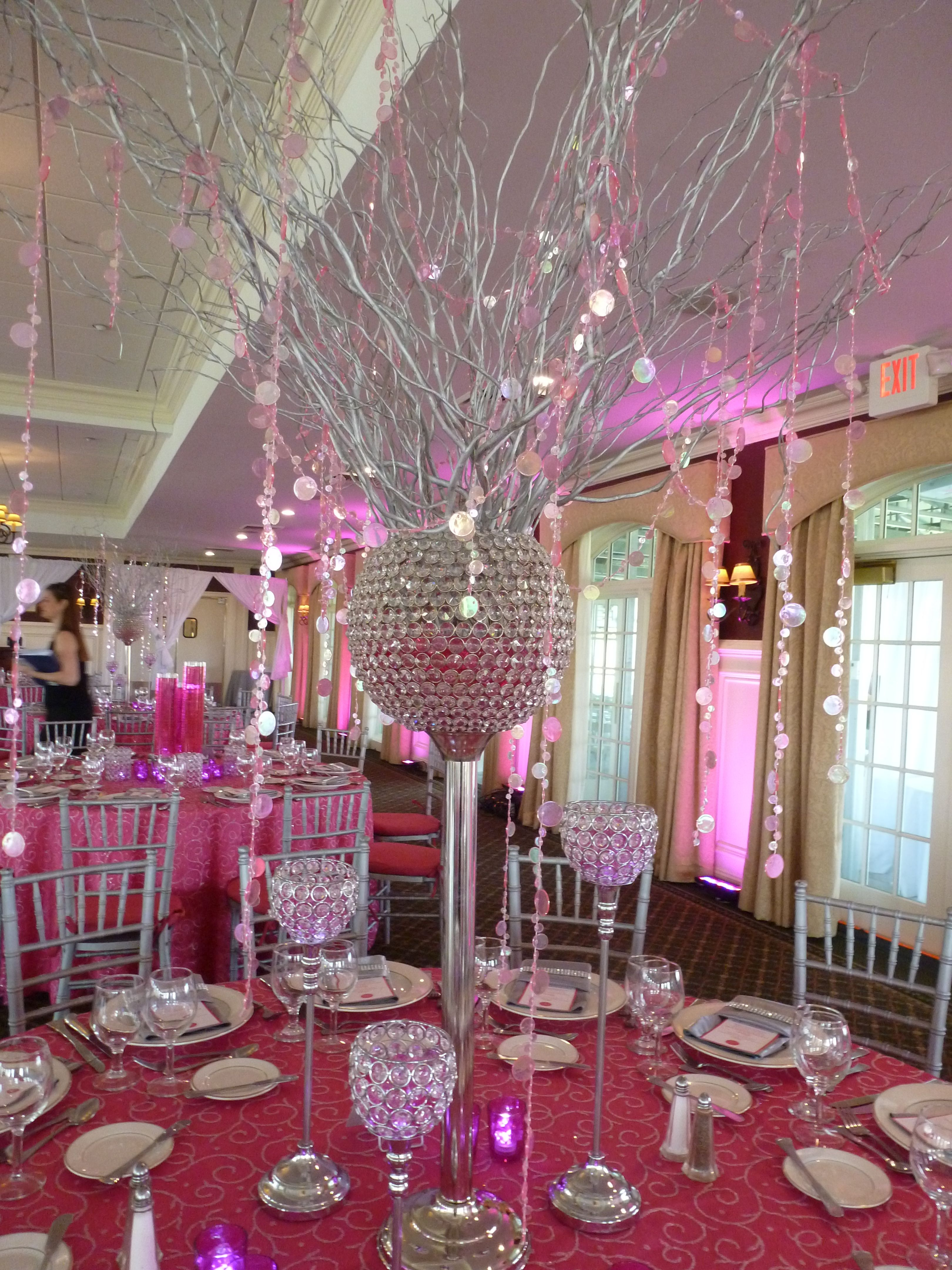 Hot Pink Silver Bat Mitzvah Centerpiece Branches Hanging Crystals The Event Of A