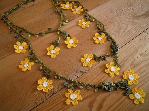 crochet necklace yellow flower green by PashaBodrum on Etsy