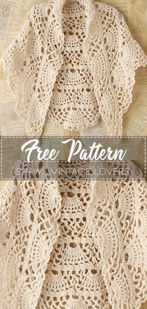 Shawl Vintage Lovers – Pattern Free – Easy Crochet