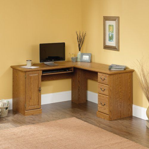 Sauder Orchard Hills Large Corner L-Shape Wood Computer Desk in Oak ...