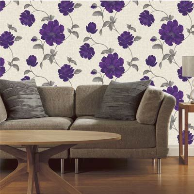 The luella floral biscuit and purple wallpaper by fine - Purple feature wall living room ideas ...