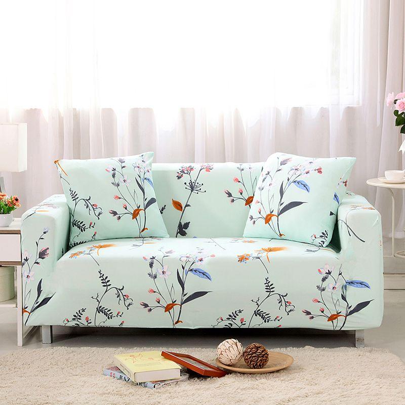 Tremendous Sofa Covers Elastic Spandex Plant Printed Light Green Sofa Machost Co Dining Chair Design Ideas Machostcouk