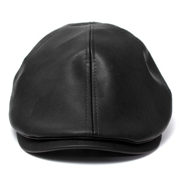738f3c495 Hot Sale Men's Leather Ivy gentleman Cap Bonnet Newsboy Beret Cabbie ...