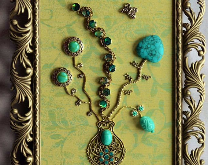 Vintage Framed Jewelry Art Home Decor Family Heirloom Ooak Unique