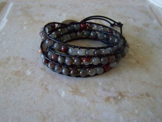 Unisex Triple Wrap Black Leather African by LillyBeadsDesigns