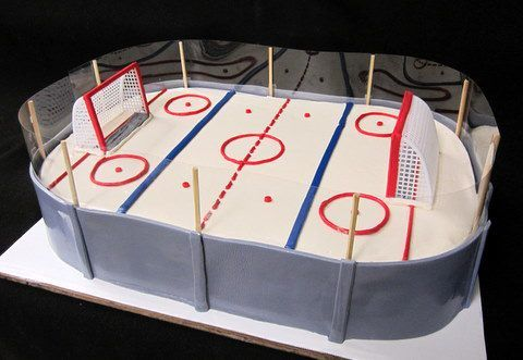 Excellent Hockey Rink With Glass With Images Hockey Birthday Cake Personalised Birthday Cards Cominlily Jamesorg