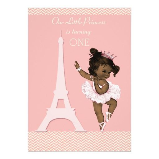 Ethnic Ballerina Eiffel Tower Chevron 1st Birthday Card – Ethnic Birthday Cards