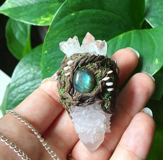 Spirit Quartz Wooldand Necklace  Witch Wicca by GaiasMysticGems