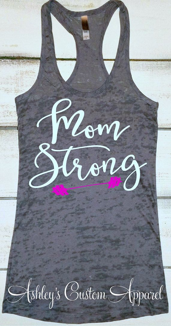 a61a7cb4f1694b Mom Strong Tank Womens Workout Tank Top by AshleysCustomApparel