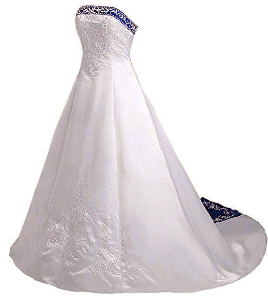 Vantexi Damen Trägerloses Stickerei Brautkleid Hochzeitskleider ...