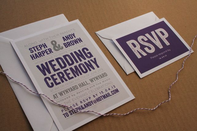 Cadbury Purple Wedding Invitations: Wedding Invitation Sample - The Modern Type