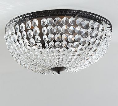 Mia Faceted Crystal Oversized Flushmount Crystal Light