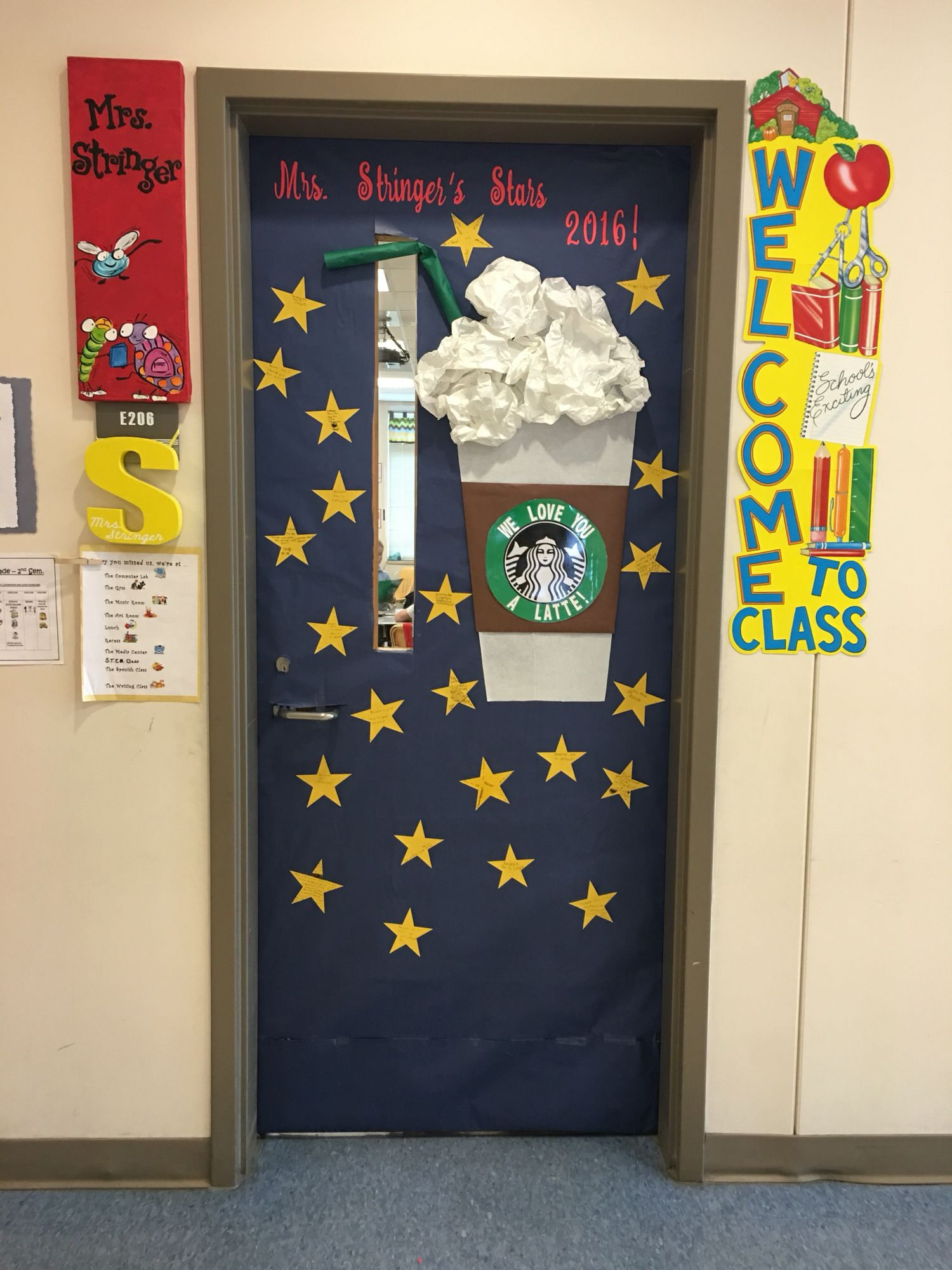 Starbucks theme door. We love you a latte! Stars are hand written notes from : love doors - pezcame.com