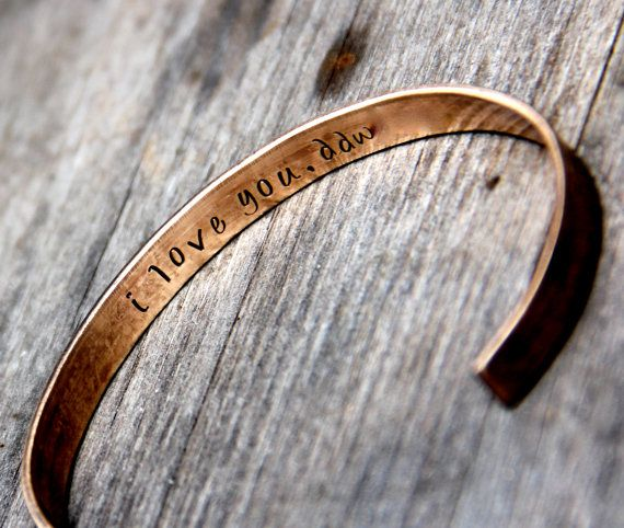 Brass Gifts For Wedding Anniversary: Bronze Custom Stamped Bracelet With 'secret' Message